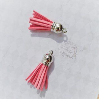 Кисточка декоративная Розовая, серебро, 38 мм
