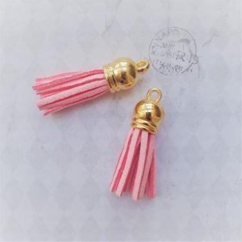 Кисточка декоративная Розовая, золото, 38 мм