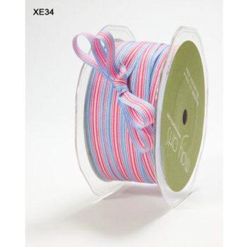 XE34 Лента с полосками LIGHT BLUE - FUCHSIA - WHITE, May Arts, 1см