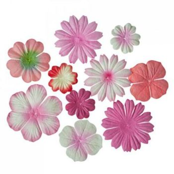 Набор цветочков из шелковичной бумаги, оттенки розового - ScrapBerrys, 10 шт.