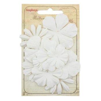 Набор цветочков из шелковичной бумаги, белый - ScrapBerrys, 10 шт.