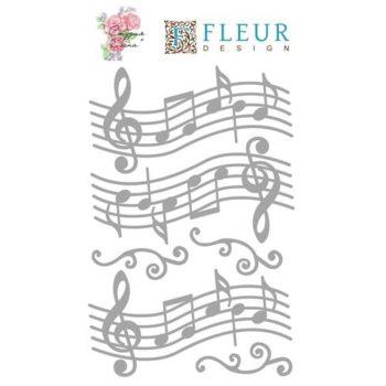 200009 Чипборд Ноты — Fleur Design, 10х15 см