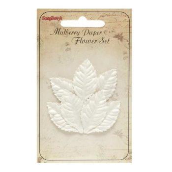 Набор листочков, Мелкие листья розы, белые - ScrapBerrys, 7 шт