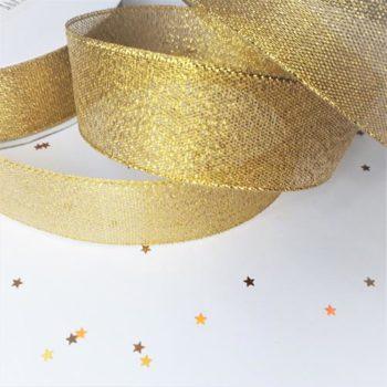 Лента парча золотистая 25 мм