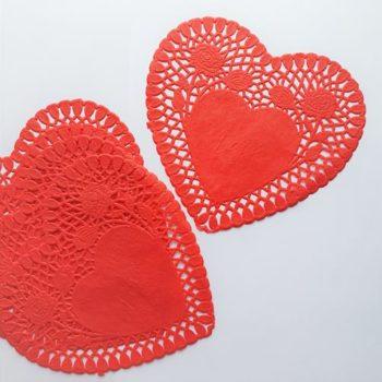 Салфетки бумажные Сердце Красные 5 шт.