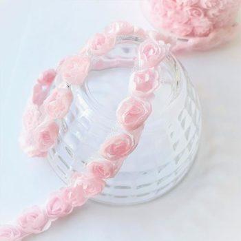 Декоративная лента с розами Розовая 12мм