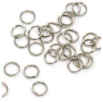 Фурнитура, колечки металлические, никель 6 мм 10шт.