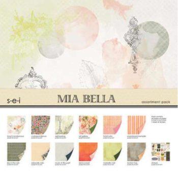 Набор бумаги MIA BELLA - SEI с фольгированием 30,5*30,5см, 24 листа + наклейки