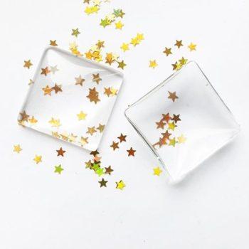 Кабошон стеклянный квадратный прозрачный, 24*24 мм