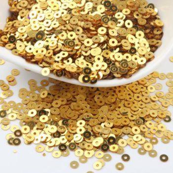 Пайетки плоские круглые цвет - золото, 3 мм 10 гр