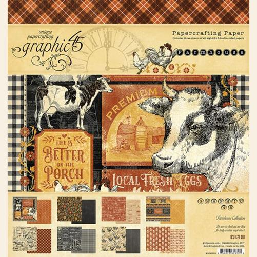4502058 Набор бумаги Farmhouse - Graphic 45, 20*20, 24 листа