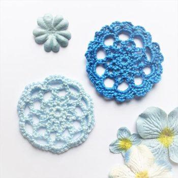 Вязаный декор Голубая и Синяя салфетки 5 и 5,4 см
