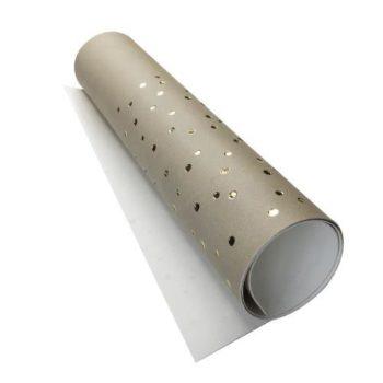 Кожзам с золотым тиснением Golden Drops Beige - Фабрика Декору 50х25см