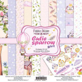 Набор скрапбумаги Cutie sparrow girl - Фабрика Декору, 30,5x30,5см