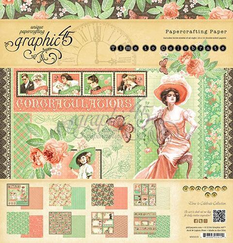 4501015 Набор бумаги Time To Celebrate - Graphic 45, 30х30 24 листа