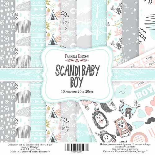 Набор скрапбумаги Scandi Baby Boy - Фабрика Декору, 20 Х 20 см