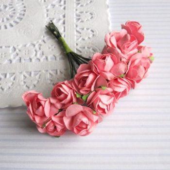 Набор розочек из бумаги Розовые, 2 см, 12 штук