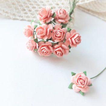 Мини-розочки персиковые, размер цветка 10мм, 10 шт