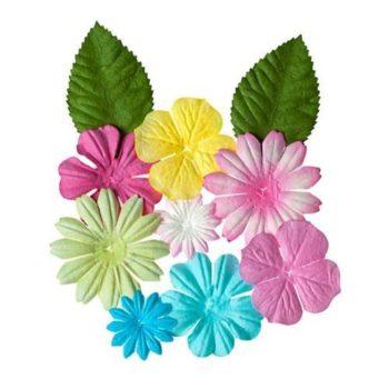 Набор цветочков с листочками, ПАСТЕЛЬНЫЕ - ScrapBerrys, 10 шт.