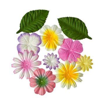 Набор цветочков с листочками, ЗАКАТ - ScrapBerrys, 10 шт.