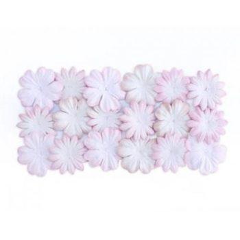 Набор цветочков из шелковичной бумаги, Белый с розовым - ScrapBerrys
