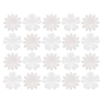 Набор цветочков из шелковичной бумаги, Белые - ScrapBerrys