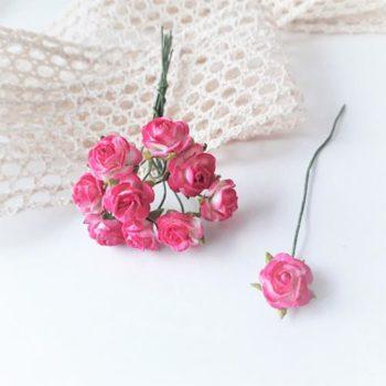 Мини-розочки двуцветные Темно-розовые, размер цветка 10мм, 10 шт