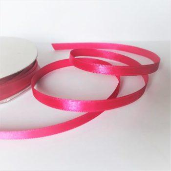 Лента атласная яркая темно-розовая, 6 мм