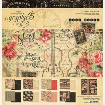 4501826 Полный набор бумаги Love Notes - Graphic 45, 30*30см + наклейки