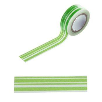 Скотч декоративный Зеленые полосы 15 мм, 8 метров