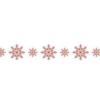 Бумажный скотч Снежинки красные 15мм, 8 метров Scrapberrys