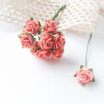 Мини-розочки розово-оранжевые 10мм, 10 шт