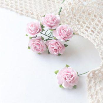Бумажные розы Нежно-розовые 19 мм 5 шт.