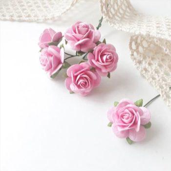 Бумажные розы Розовые 20 мм 5 шт.