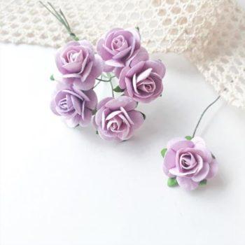 Бумажные розы Розово-сиреневые 20 мм 5 шт.