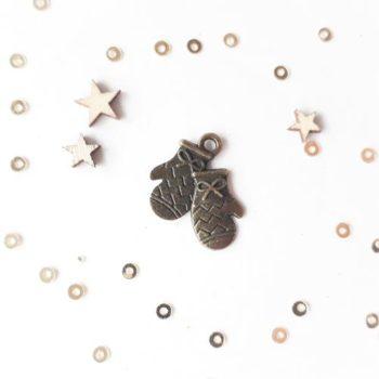 Металлическое украшение Варежки бронза 18*17 мм