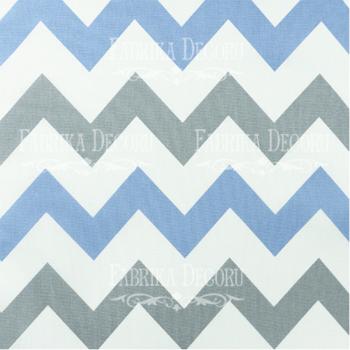 Отрез ткани Серо-голубой зигзаг — Фабрика Декору 35*70 см