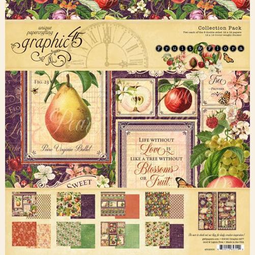 4502000 Полный набор бумаги Fruit & Flora — Graphic 45, 30*30см + наклейки