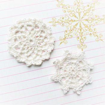 Вязаный декор Белые салфетки 5,5 и 5,3 см