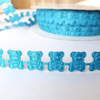 Фигурная лента Мишки синяя 12 мм