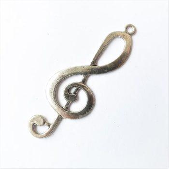 Металлическое украшение Большой скрипичный ключ сталь 60*20 мм