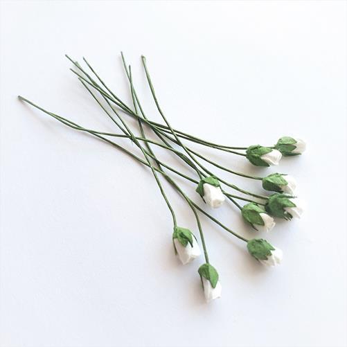 Бумажные мини-розы в бутонах Белые 0,5 см, 10 штук
