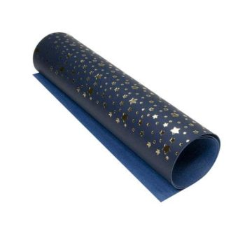 Кожзам с золотым тиснением Golden Stars Dark blue - Фабрика Декору 50х25см