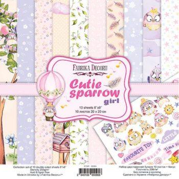 Набор скрапбумаги Cutie sparrow girl - Фабрика Декору, 20x20см