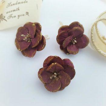 Цветы из бумаги 3см Темно-фиолетовые с золотым глиттером 3 шт.