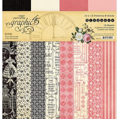 4502196 Набор бумаги Elegance - Patterns & Solid - Graphic 45 30*30см
