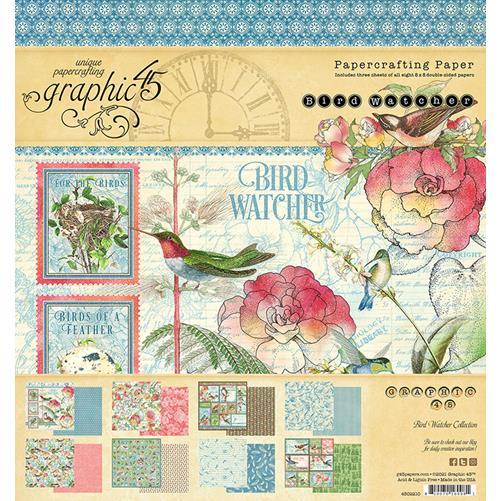 4502210 Набор бумаги Bird Watcher - Graphic 45, 20*20см 24 листа