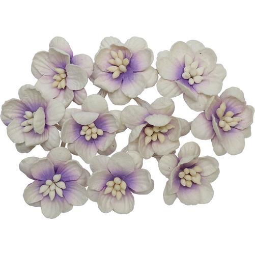 Цветки вишни набор Фиолетовый с белым - ScrapBerrys, 10 шт.