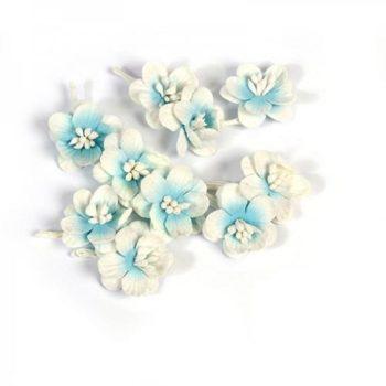 Цветки вишни набор Небесно-белый - ScrapBerrys, 10 шт.