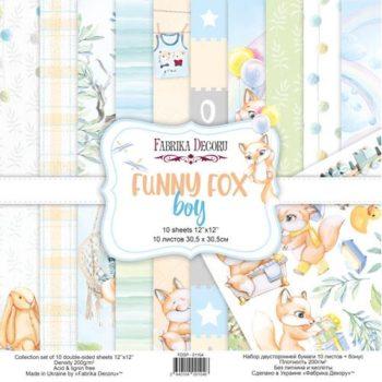 Набор скрапбумаги Funny fox boy (Забавный лисенок, мальчик) - Фабрика Декору, 30,5x30,5см